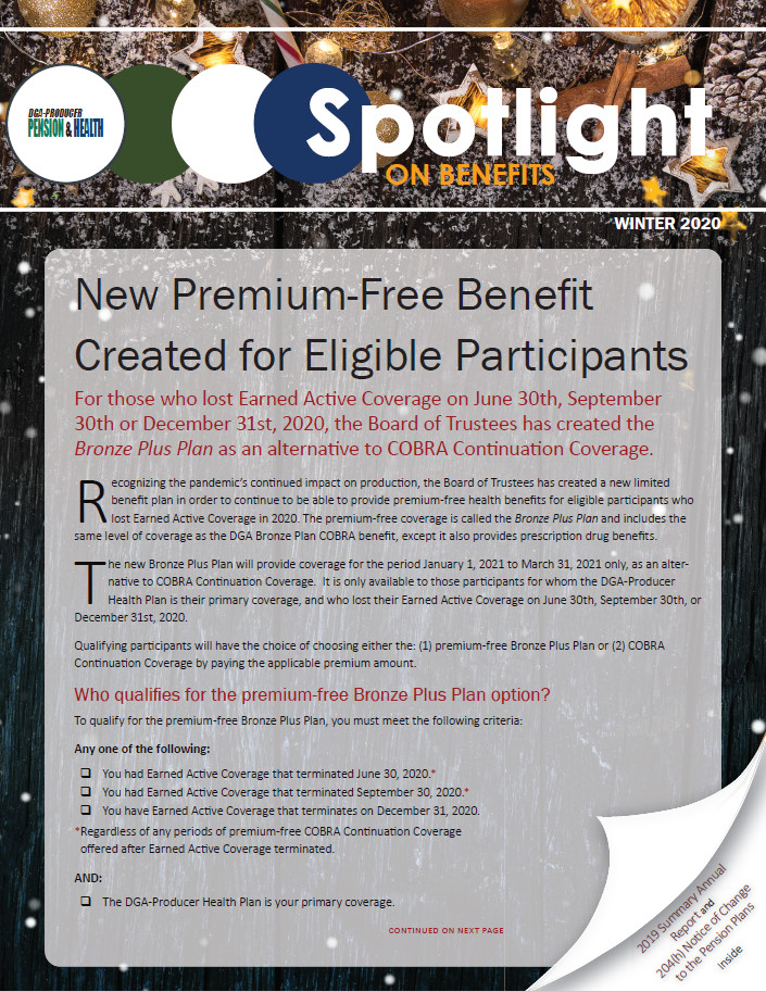 Winter 2020 Spotlight on Benefits Newsletter Now Available